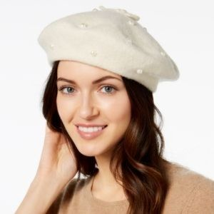 ca8f9cfb8844f Kate Spade Ivory Beret with Pearls   Bow